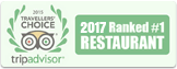 Trip Advisor 2017, Ranked #1 Restaurante